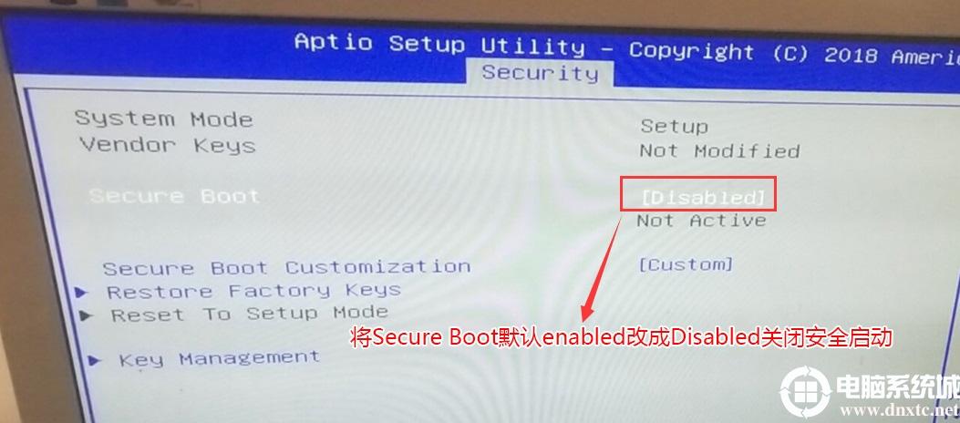 将Secure Boot默认的enabled改成disabled关闭安全启动